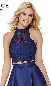Image of short Alyce high-neck two-piece homecoming dress. Style: AL-3800 Detail Image 1