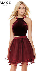 Image of short racerback babydoll homecoming Dress. Style: AL-3819 Front Image