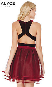 Image of short racerback babydoll homecoming Dress. Style: AL-3819 Back Image