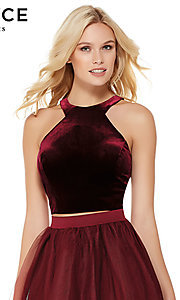 Image of short racerback babydoll homecoming Dress. Style: AL-3819 Detail Image 1