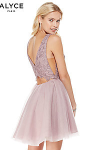 Image of a-line high-neck sleeveless tulle homecoming dress. Style: AL-3801 Back Image