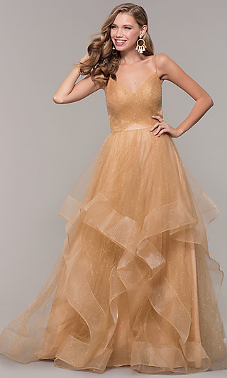 Long Layered Glitter Tulle V-Neck Prom Dress