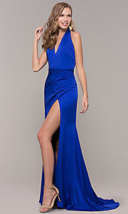 Image of side-slit v-neck halter long prom dress. Style: TI-GL-1812P5394G Front Image