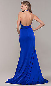 Image of side-slit v-neck halter long prom dress. Style: TI-GL-1812P5394G Back Image
