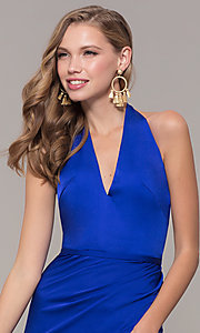Image of side-slit v-neck halter long prom dress. Style: TI-GL-1812P5394G Detail Image 1