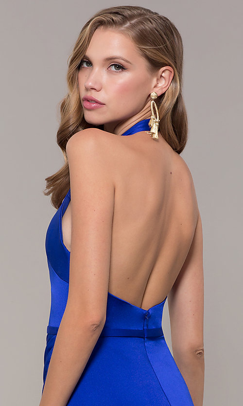 Image of side-slit v-neck halter long prom dress. Style: TI-GL-1812P5394G Detail Image 2
