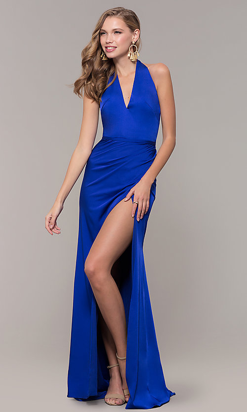 Image of side-slit v-neck halter long prom dress. Style: TI-GL-1812P5394G Detail Image 3
