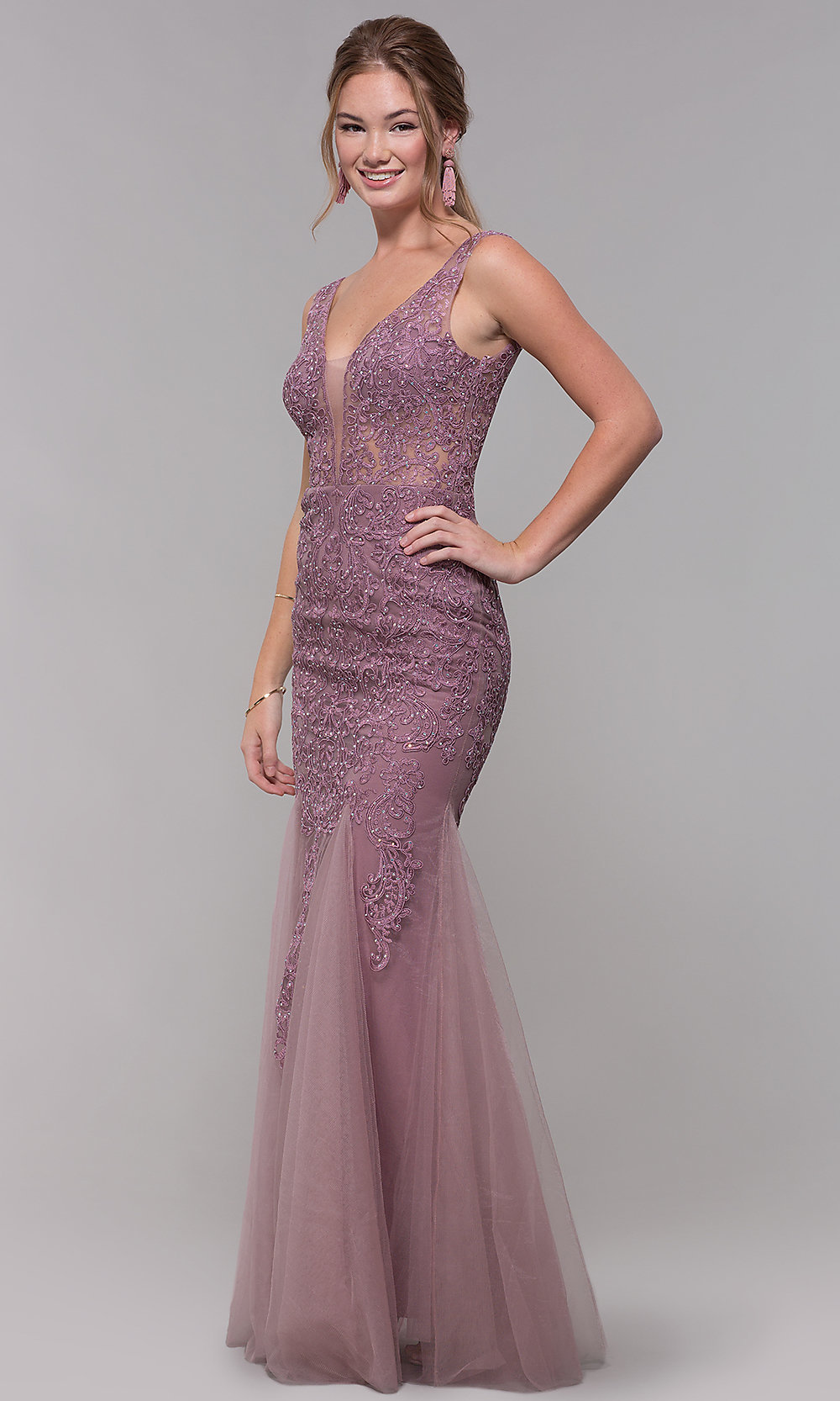 V-Neck Long Embroidered Tulle Pink Prom Dress-PromGirl