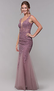 Image of long embroidered-mesh prom dress with v-neckline. Style: SOI-PL-M17309-1 Front Image