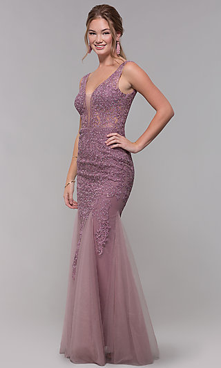 Long Embroidered-Mesh Prom Dress with V-Neckline