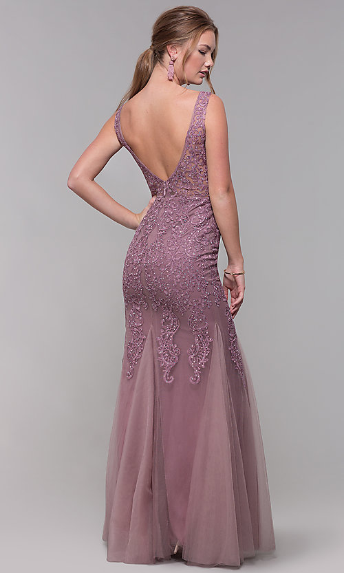 Image of long embroidered-mesh prom dress with v-neckline. Style: SOI-PL-M17309-1 Back Image