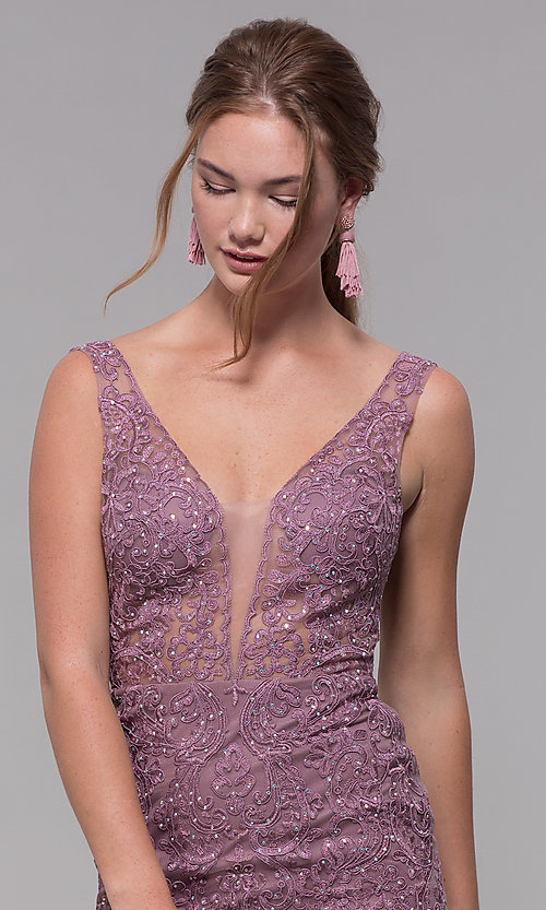 Image of long embroidered-mesh prom dress with v-neckline. Style: SOI-PL-M17309-1 Detail Image 1