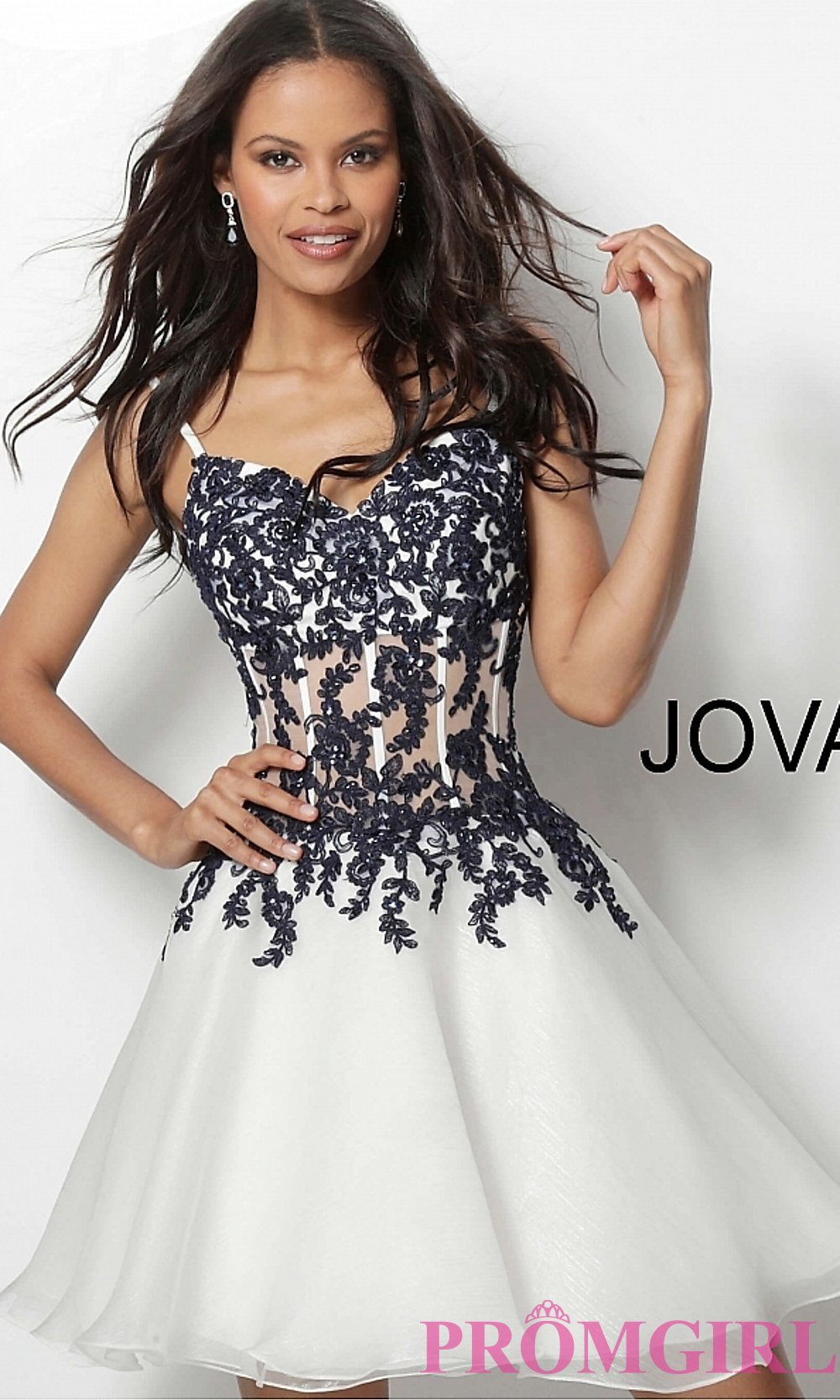 d0af63b2482 Ivory Homecoming Dress with Navy Embroidery