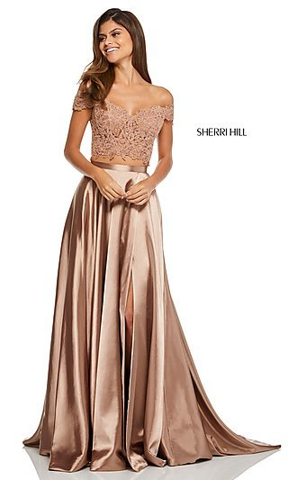 Off-the-Shoulder Two-Piece Long Prom Dress