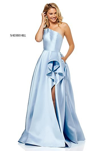 Long One-Shoulder Sherri Hill Prom Dress
