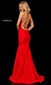 Image of long Sherri Hill prom dress with trumpet skirt. Style: SH-52779 Back Image