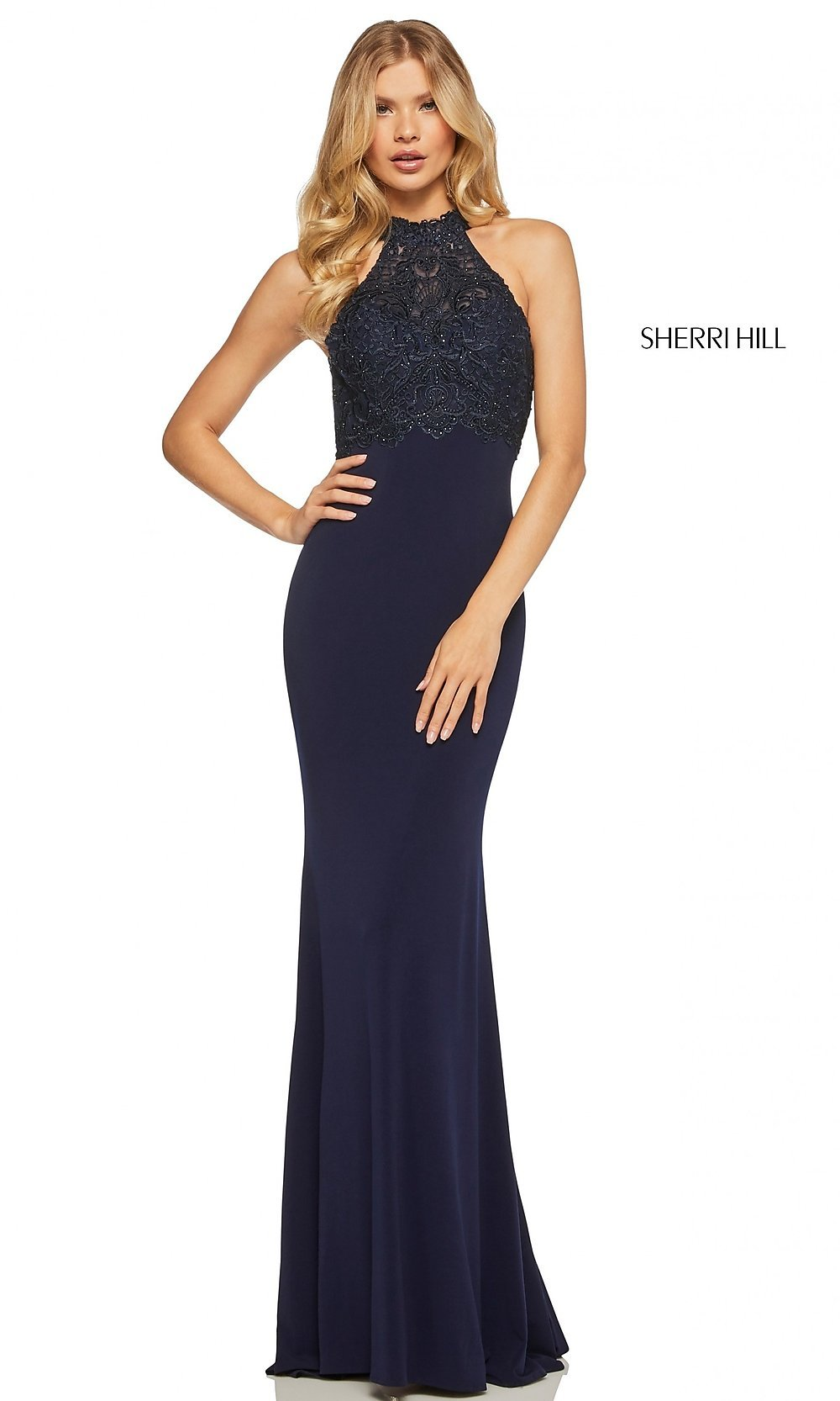 9514ae2a6e2 Image of long fitted mock-neck prom dress with embroidery. Style  SH-. Tap  to expand