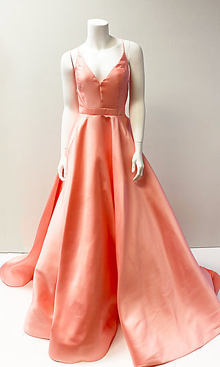 Satin V-Neck Formal Prom Ball Gown with Back Corset