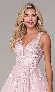Image of long a-line embroidered prom dress by Elizabeth K. Style: FB-GL2529 Detail Image 1