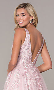 Image of long a-line embroidered prom dress by Elizabeth K. Style: FB-GL2529 Detail Image 2