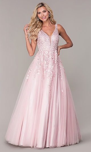 Long A-Line Embroidered Prom Dress by Elizabeth K