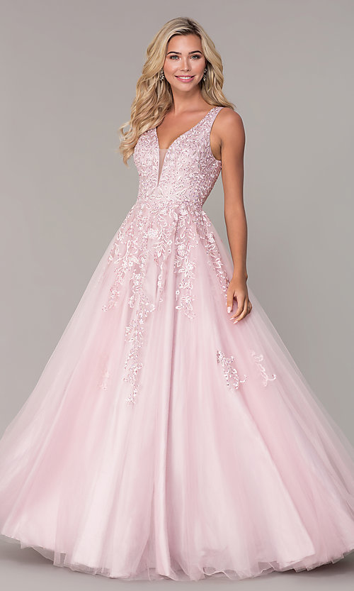 Image of long a-line embroidered prom dress by Elizabeth K. Style: FB-GL2529 Detail Image 3