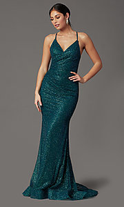 Image of long corset-back glitter prom dress by Elizabeth K. Style: FB-GL2586 Detail Image 4