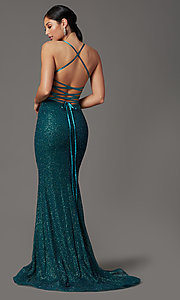 Image of long corset-back glitter prom dress by Elizabeth K. Style: FB-GL2586 Detail Image 5