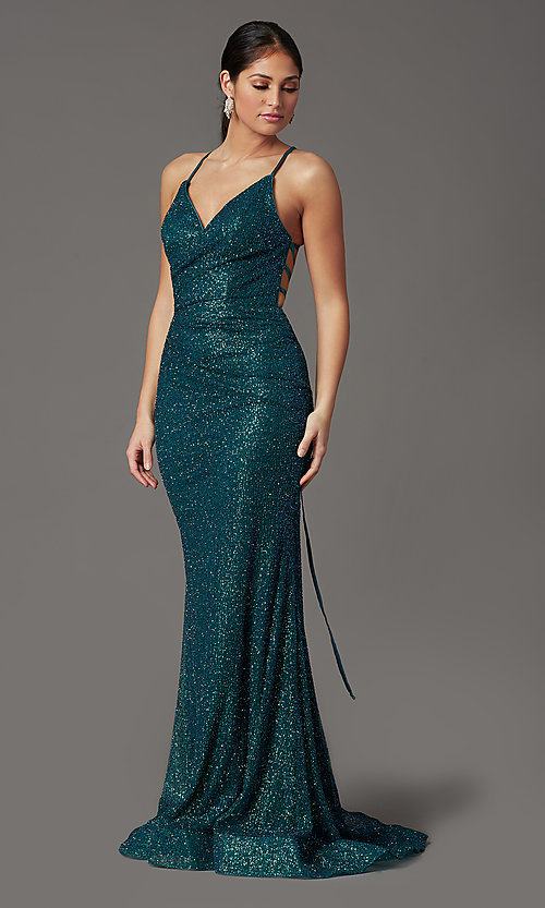Image of long corset-back glitter prom dress by Elizabeth K. Style: FB-GL2586 Detail Image 6