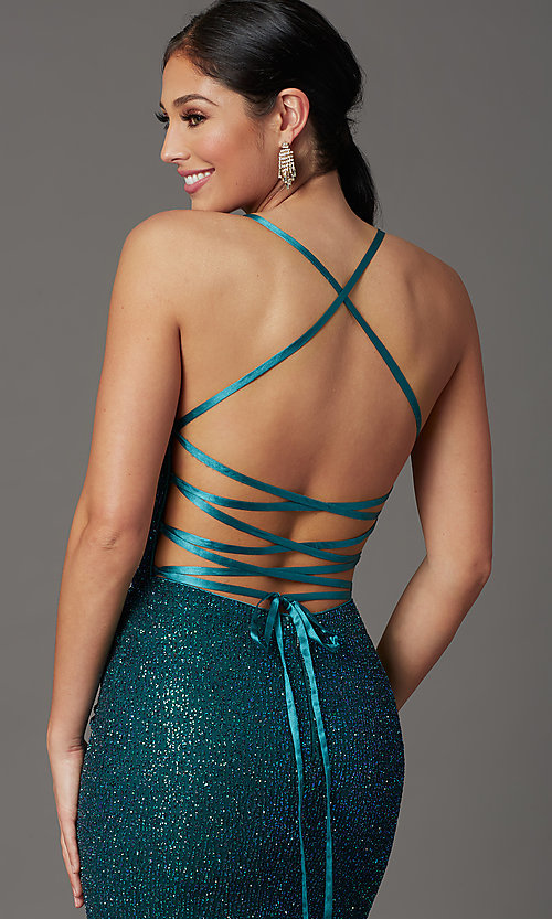 Image of long corset-back glitter prom dress by Elizabeth K. Style: FB-GL2586 Detail Image 7