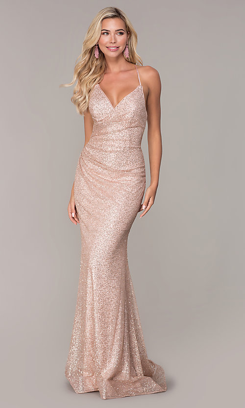Image of long corset-back glitter prom dress by Elizabeth K. Style: FB-GL2586 Front Image