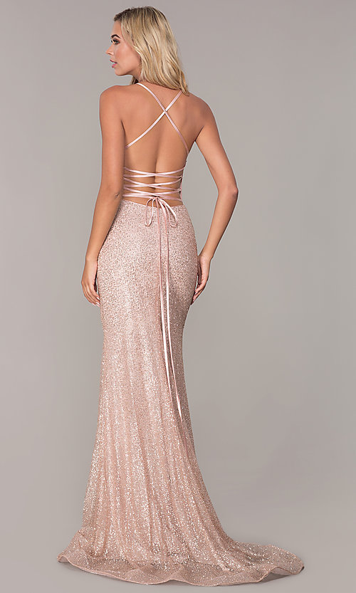 Image of long corset-back glitter prom dress by Elizabeth K. Style: FB-GL2586 Back Image