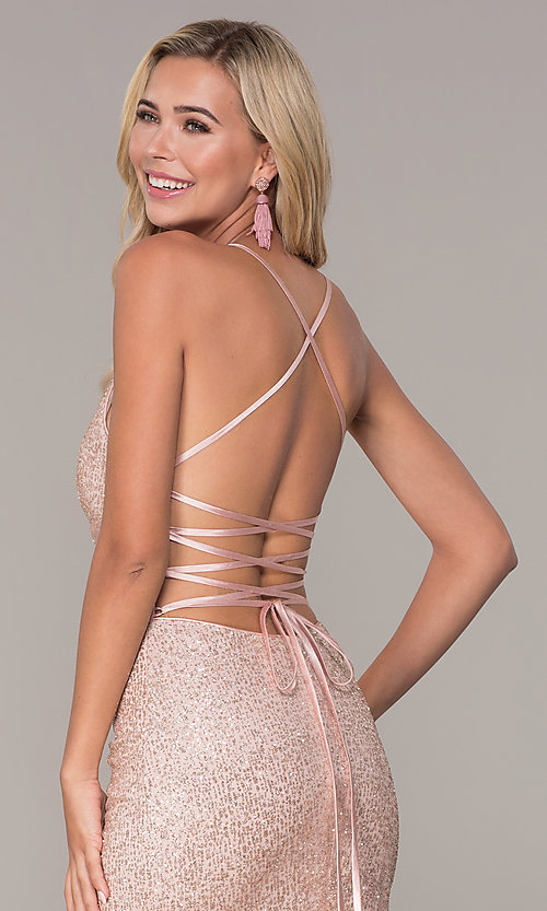 Image of long corset-back glitter prom dress by Elizabeth K. Style: FB-GL2586 Detail Image 2