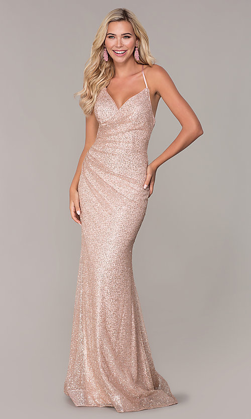 Image of long corset-back glitter prom dress by Elizabeth K. Style: FB-GL2586 Detail Image 3