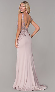 Image of long lace-open-back prom dress by Elizabeth K. Style: FB-GL2614 Detail Image 5