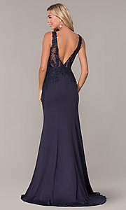 Image of long lace-open-back prom dress by Elizabeth K. Style: FB-GL2614 Back Image