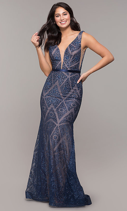 Image of vintage-inspired glitter long formal prom dress. Style: FB-GL2646 Front Image