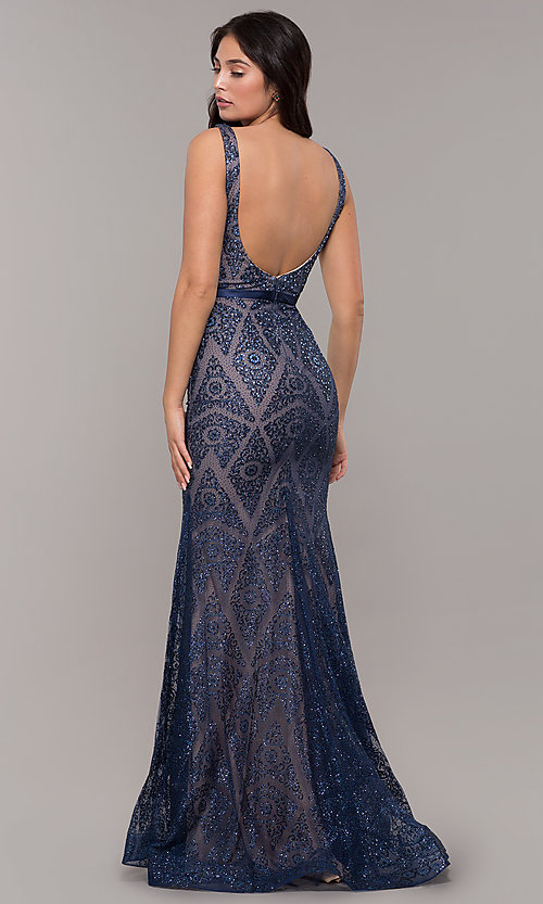 Image of vintage-inspired glitter long formal prom dress. Style: FB-GL2646 Back Image