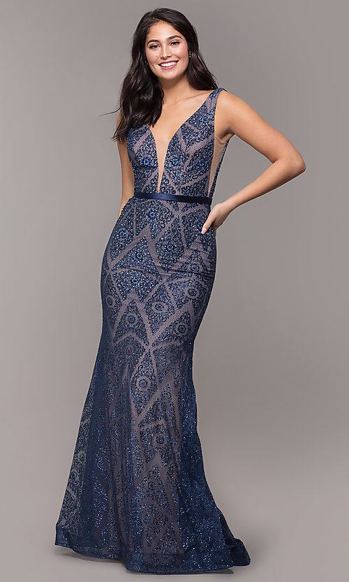 Image of vintage-inspired glitter long formal prom dress. Style: FB-GL2646 Detail Image 3