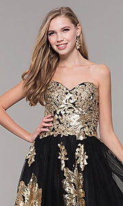Image of long black and gold strapless prom dress. Style: FB-GL2654 Detail Image 1