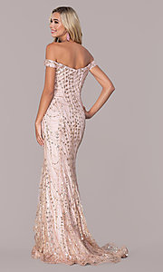 Image of rose gold pink sparkly long formal prom dress. Style: FB-GL2585 Back Image