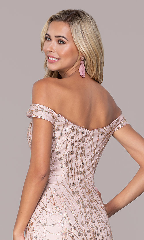 Image of rose gold pink sparkly long formal prom dress. Style: FB-GL2585 Detail Image 2