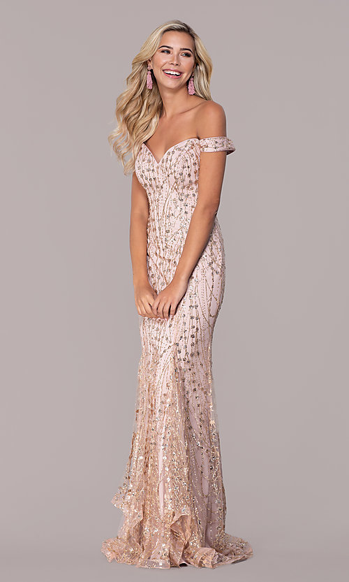 Image of rose gold pink sparkly long formal prom dress. Style: FB-GL2585 Detail Image 3