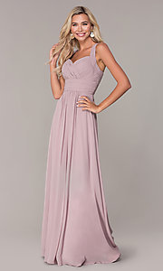 Image of long chiffon ruched-bodice prom dress by Elizabeth K. Style: FB-GL2608 Detail Image 4