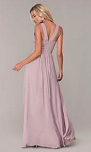 Image of long chiffon ruched-bodice prom dress by Elizabeth K. Style: FB-GL2608 Detail Image 5