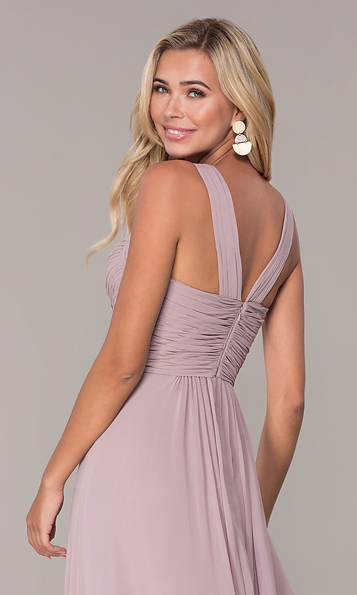 Image of long chiffon ruched-bodice prom dress by Elizabeth K. Style: FB-GL2608 Detail Image 7