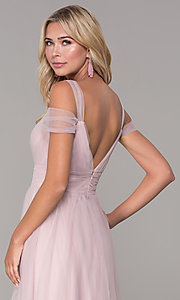 Image of long tulle cold-shoulder prom dress by Elizabeth K. Style: FB-GL2610 Detail Image 2