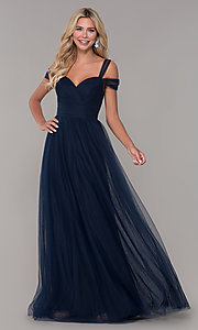 Image of long tulle cold-shoulder prom dress by Elizabeth K. Style: FB-GL2610 Detail Image 5