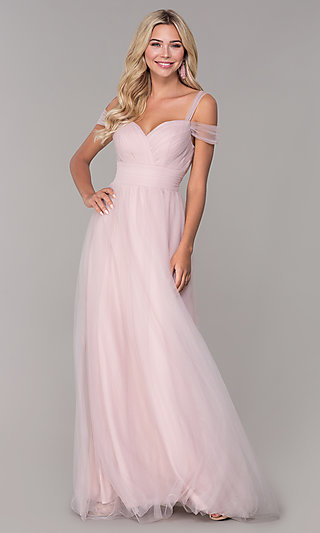 Long Tulle Cold-Shoulder Prom Dress by Elizabeth K