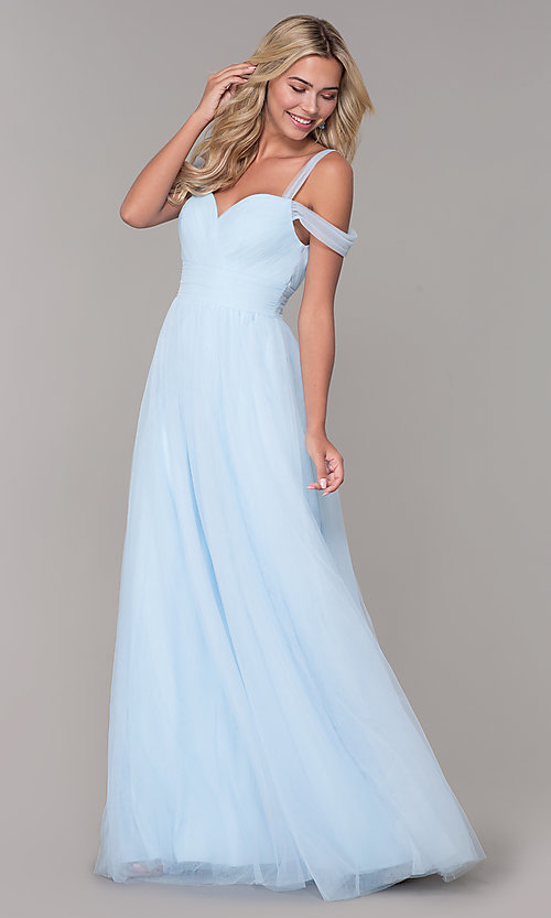 Image of long tulle cold-shoulder prom dress by Elizabeth K. Style: FB-GL2610 Detail Image 7